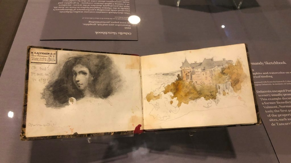 delacroix sketchbooks and drawings Eugène Delacroix, Normandy sketchbook, 1929. Graphite and watercolor on wove paper, period binding. Gift from Karen B. Cohen Collection of Eugène Delacroix. Photo by Howard Schwartz