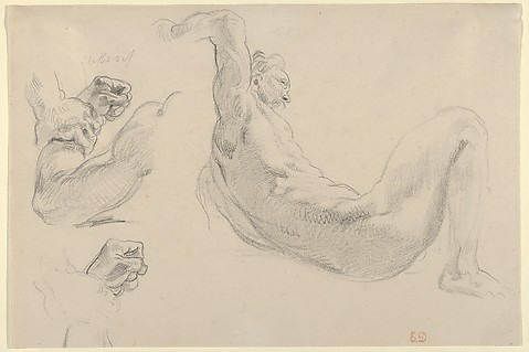 """Eugène Delacroix, Studies of a Fallen Male Nude for """"Hercules and the Horses of Diomedes,"""" 1852. Graphite. Gift from Karen B. Cohen Collection of Eugène Delacroix. Photo by Metropolitan Museum of Art"""