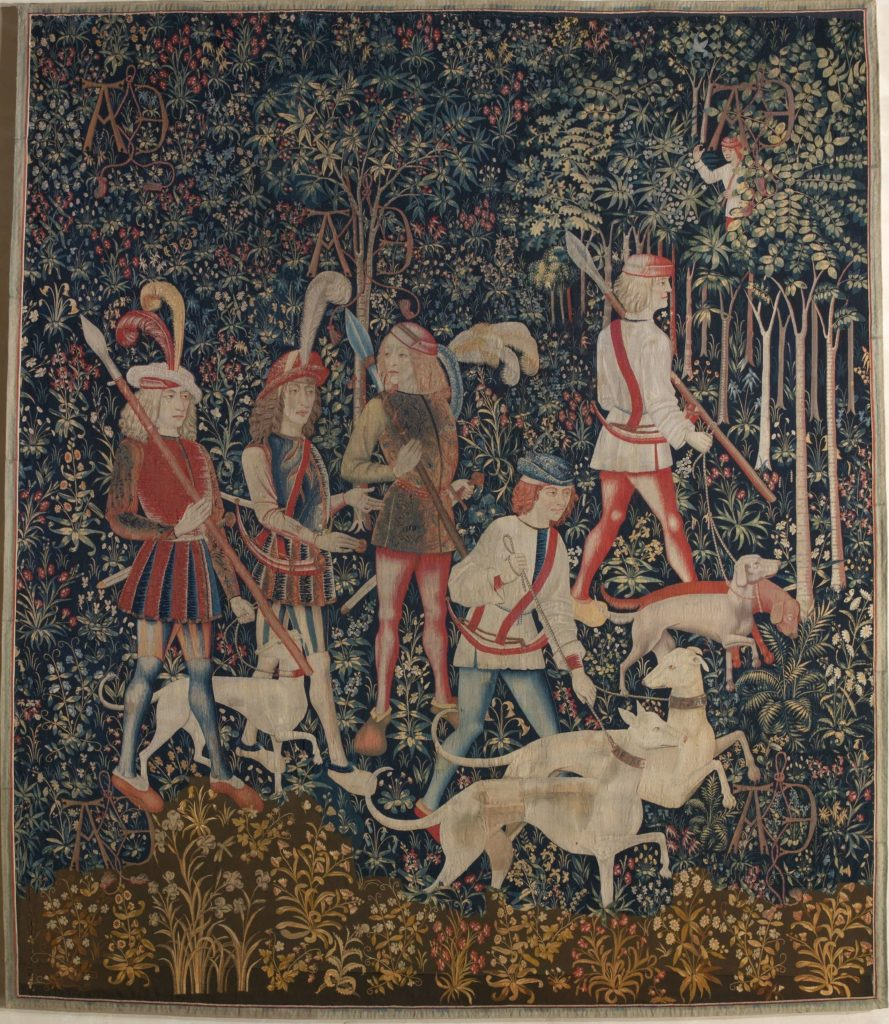 The Hunters Enter the Woods Unicorn Tapestries