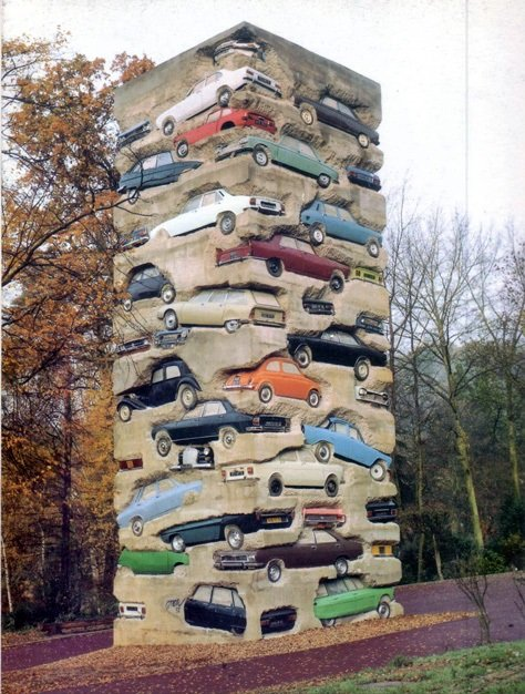 Arman, Long Term Parking, concrete and cars, 1960x600x600cm, 1982. Cartier Museum, Chateau du Montcel. Source: earthlymission.com