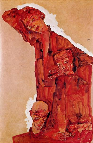 Egon Schiele, Composition with Three Male Figures (Self Portrait), 1911, private collection, schiele's orange obsession