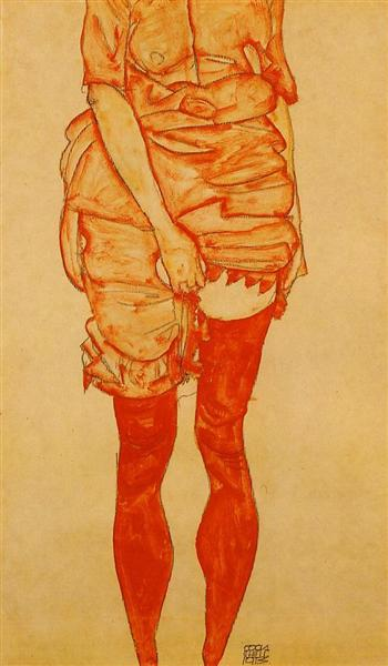 Egon Schiele, Standing Woman in Red, 1913, private collection, schiele's orange obsession