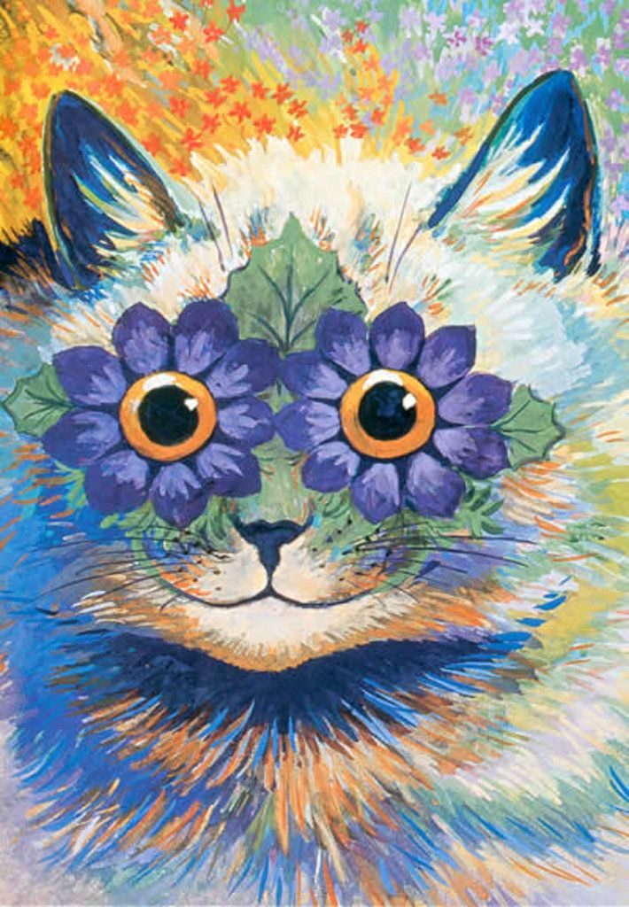 Louis Wain, Flower Eyes Cat, private collection Art in BoJack Horseman