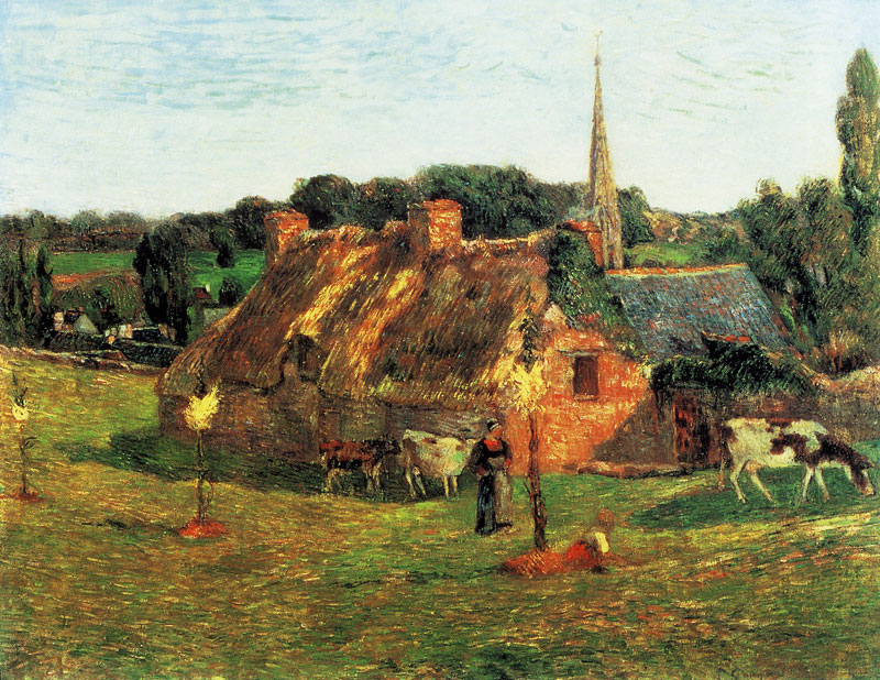Pont-Aven School Paul Gauguin (1848–1903), Lollichon Field and Pont-Aven Church (1886), oil on canvas, 71.3 × 92 cm, Private collection. Wikimedia Commons.