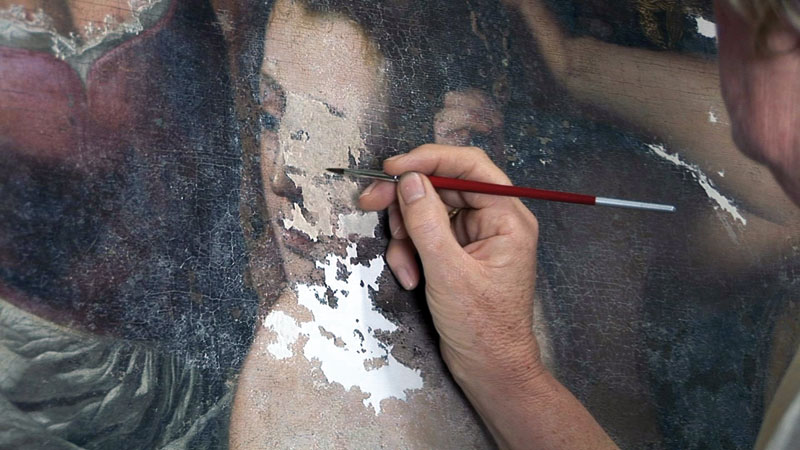 Restoring Batheba's face in a painting by Artemisia Gentileschi, source: AWA Foundation, Advancing Women Artists Foundation
