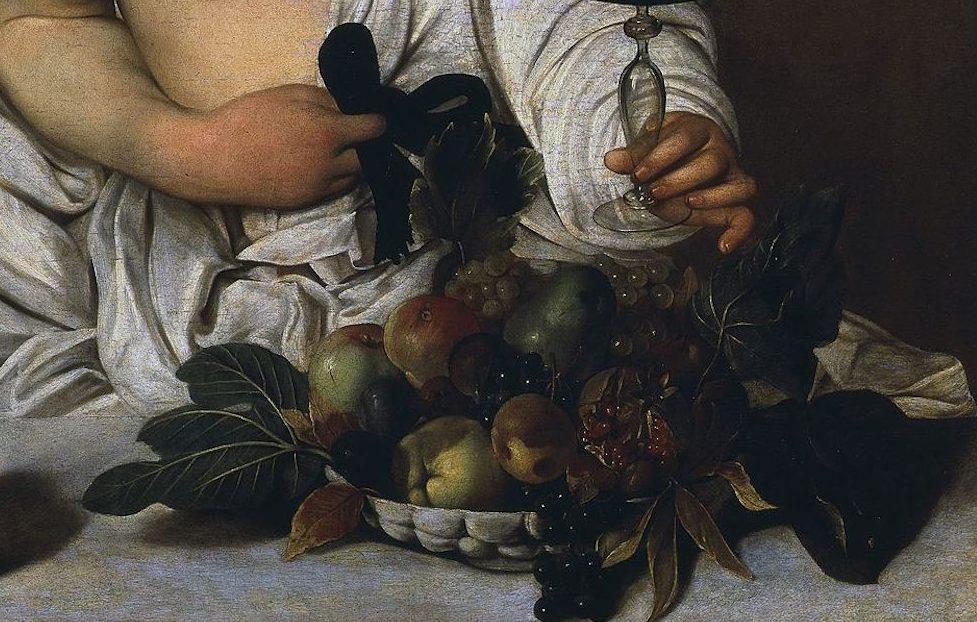 caravaggio bacchus Caravaggio, Bacchus, c. 1596, Galleria degli Uffizi, Florence (detail)