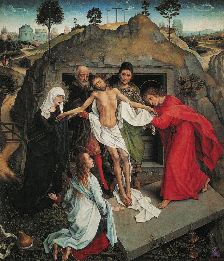 Rogier van der Weyden, The entombment of Christ, c.1460-4, Uffizi Gallery, Florence, Italy, rogier van der weyden restored
