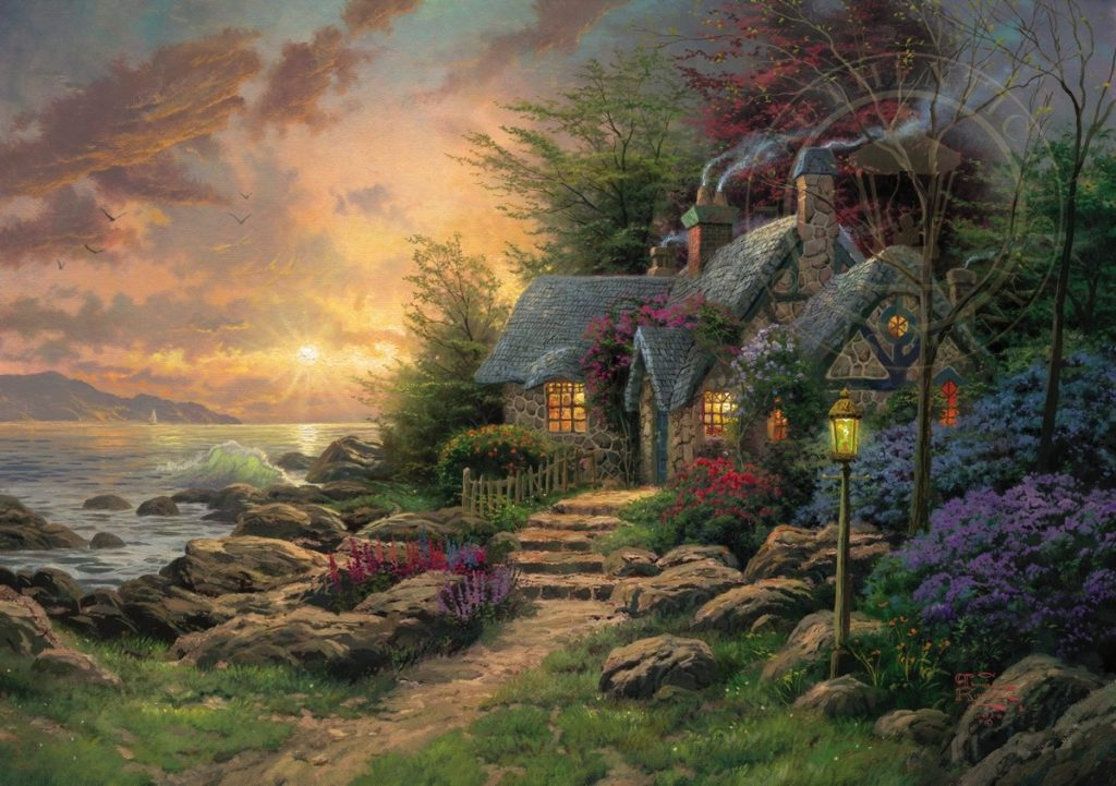 Thomas Kinkade, Seaside Hideaway, 2003, private collection Art in BoJack Horseman