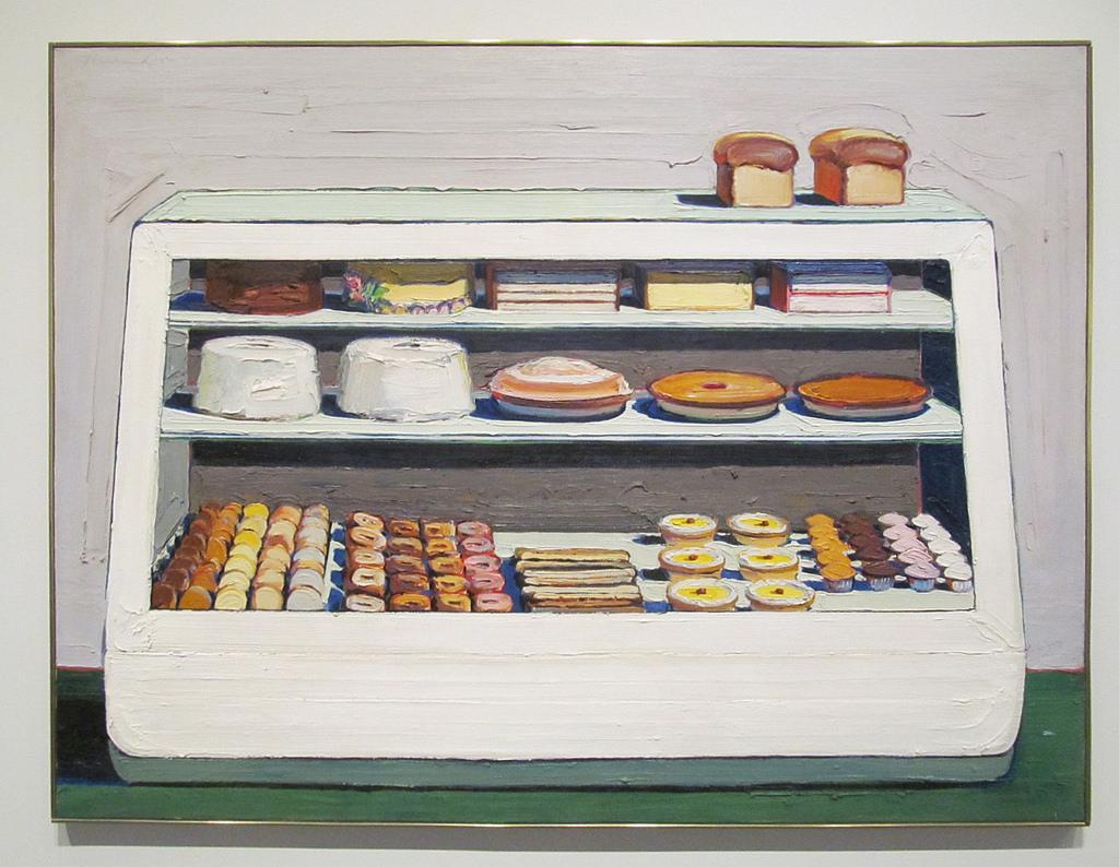 Wayne Thiebaud, Bakery Counter, oil on canvas, 1962, Ebsworth Living Trust. Source: https://www.flickr.com/photos/rocor/39884494361