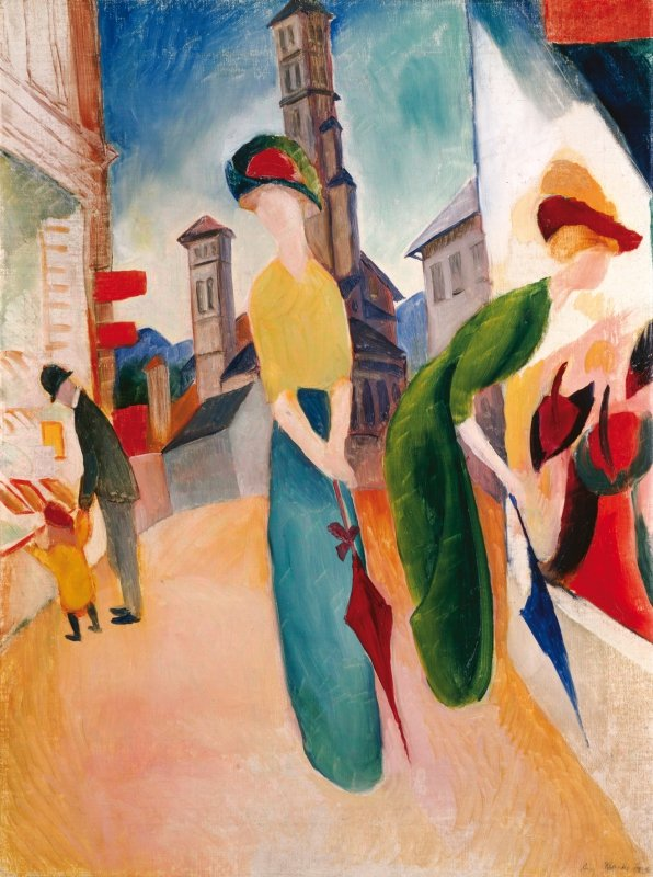 August Macke, Two women in front of a hat shop, 1913 © Courtesy Heidi Horten Collection; Art Collection of Heidi Horten