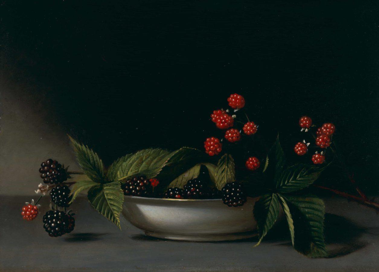 Raphaelle Peale, Blackberries, 18.4 x 26 cm, oil on wood panel, ca. 1813. Source: https://blvrd.com/portfolio-posts/blackberries/