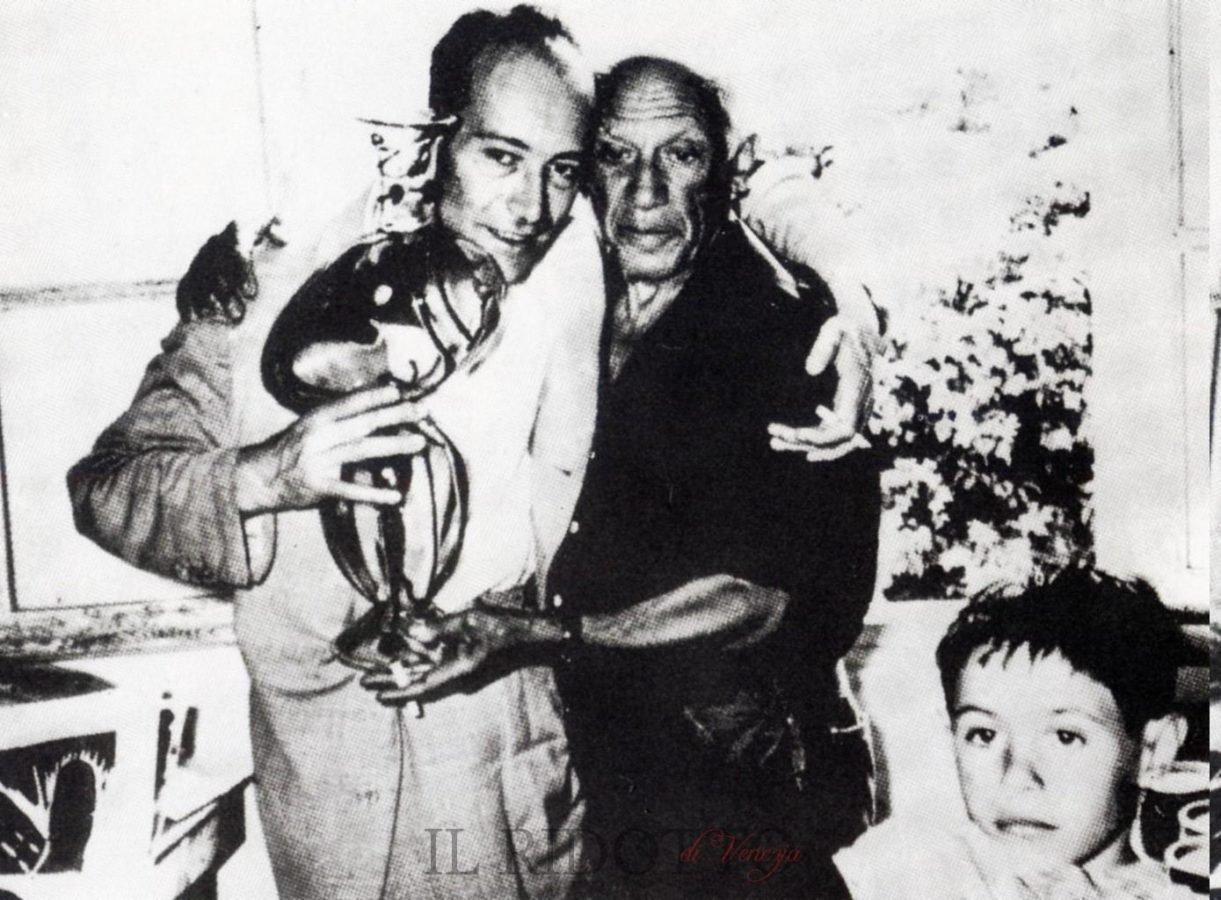 Egidio Costantini with Pablo Picasso, unknown date, source: Il Ridotto, angels forge glass