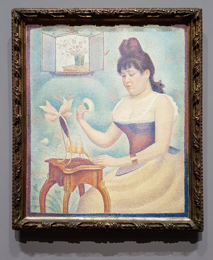 Georges Seurat, Young Woman Powdering Herself, ca 1888-90, The Samuel Courtauld Trust, The Courtauld Gallery, London - post-impressionism