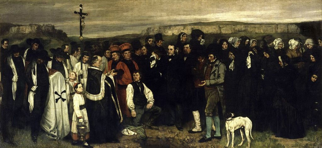 funeral paintings Gustave Courbet, A Burial At Ornans, 1849–1850, Musée d'Orsay, Paris