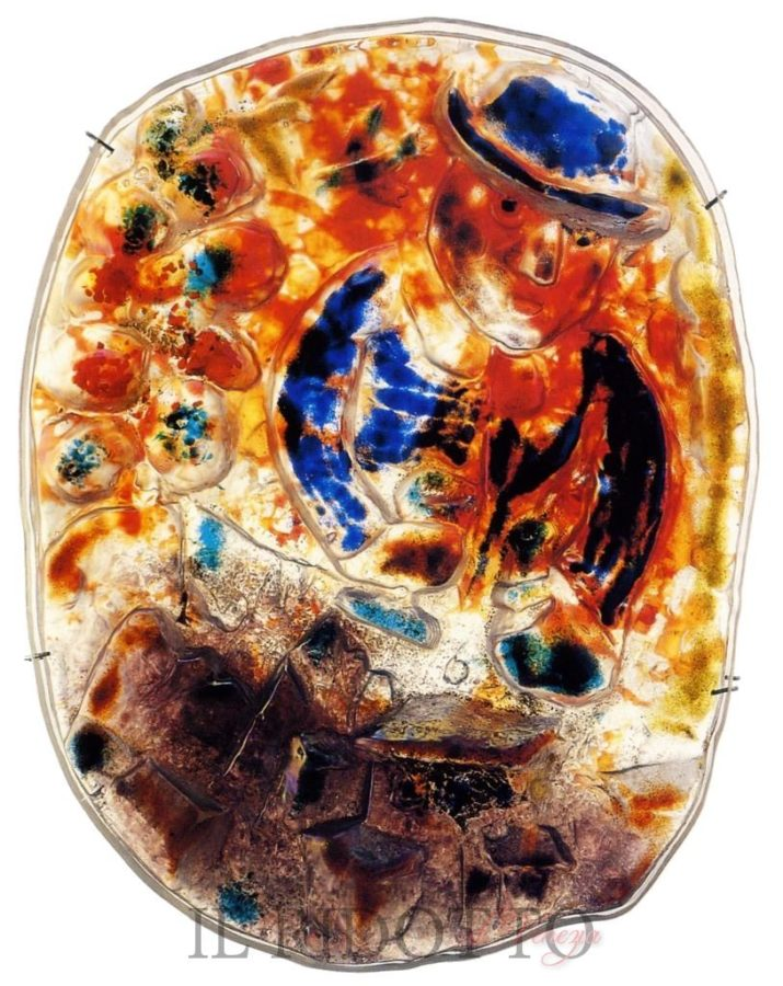 Fucina degli Angeli and Marc Chagall, Il Contadino (The farmer), 1954, source: Il Ridotto, angels forge glass
