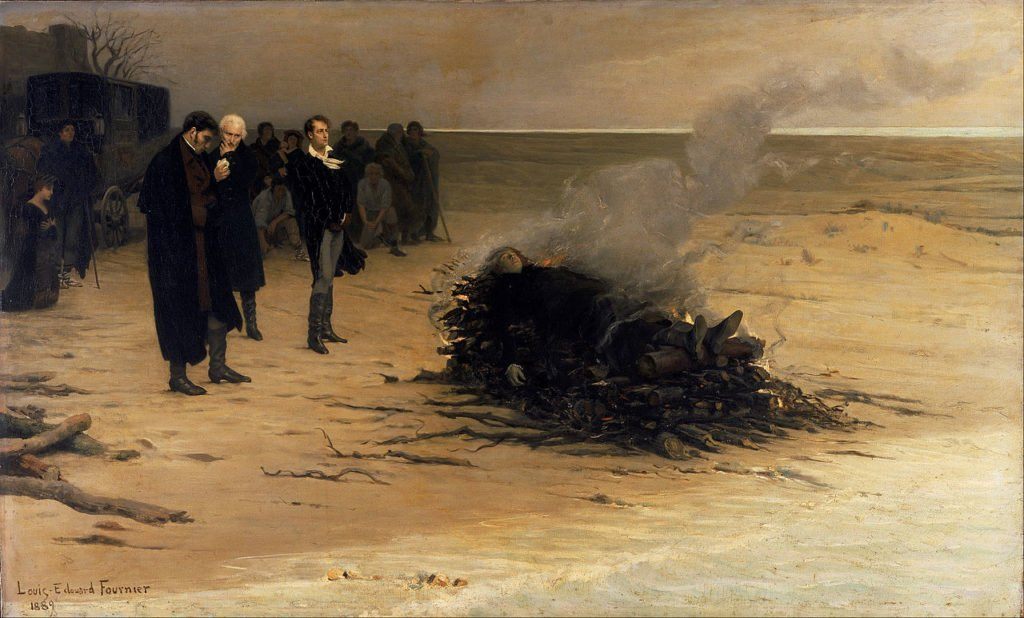 funeral paintings Louis Édouard Fournier, The Funeral of Shelley, 1889, Walker Art Gallery, Liverpool