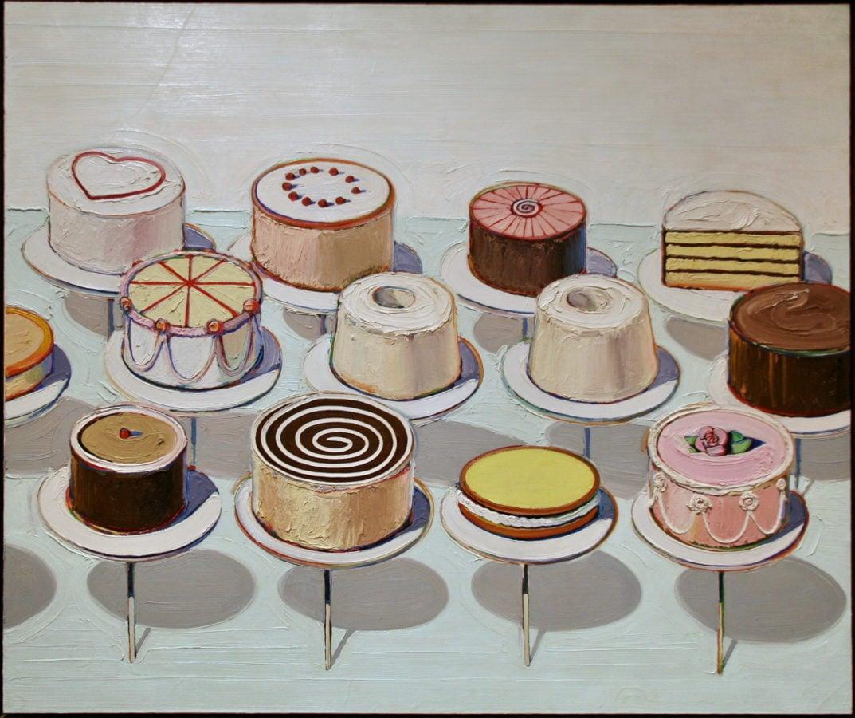 Wayne Thibeaud, Cakes, 152x183 cm, oil on canvas, 1963. Source: https://foodoncanvas.eu/wayne-thiebaud-cakes-1963/