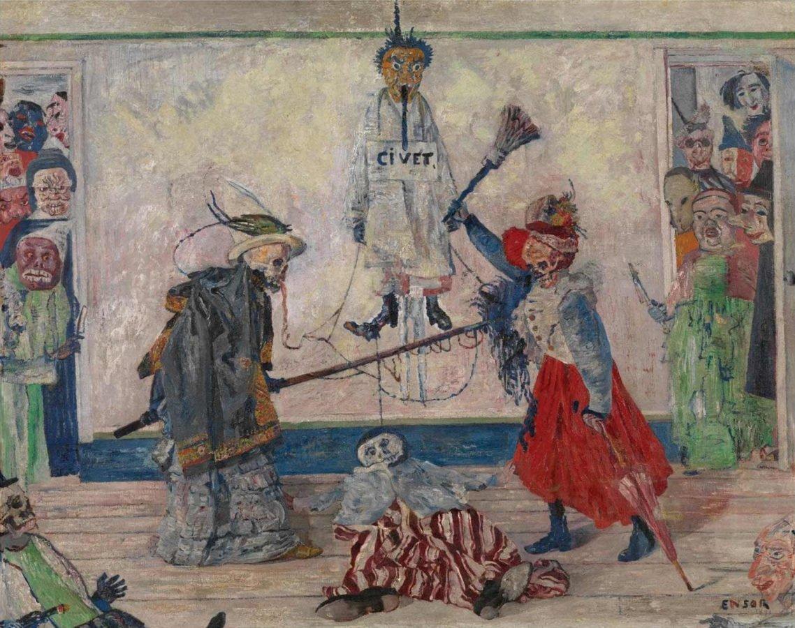 James Ensor: Skeletons Fighting over a Pickled Herring Two Skeletons Fighting over a Dead Man James EnsorFighting Skeletons of James Ensor