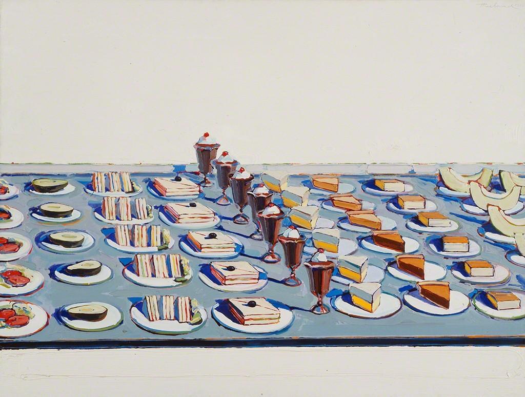 Wayne Thiebaud, Salads, Sandwishes, and Desserts, oil on canvas, 1962, Walker Art Center. Source: https://www.artsy.net/artwork/wayne-thiebaud-salads-sandwiches-and-desserts