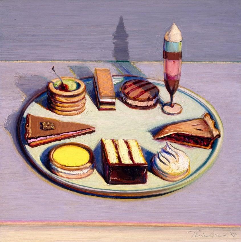 Wayne Thiebaud, Dessert Tray, oil on canvas, 1992-1994, San Francisco Museum of Modern Art. Source: https://www.sfmoma.org/artwork/97.880