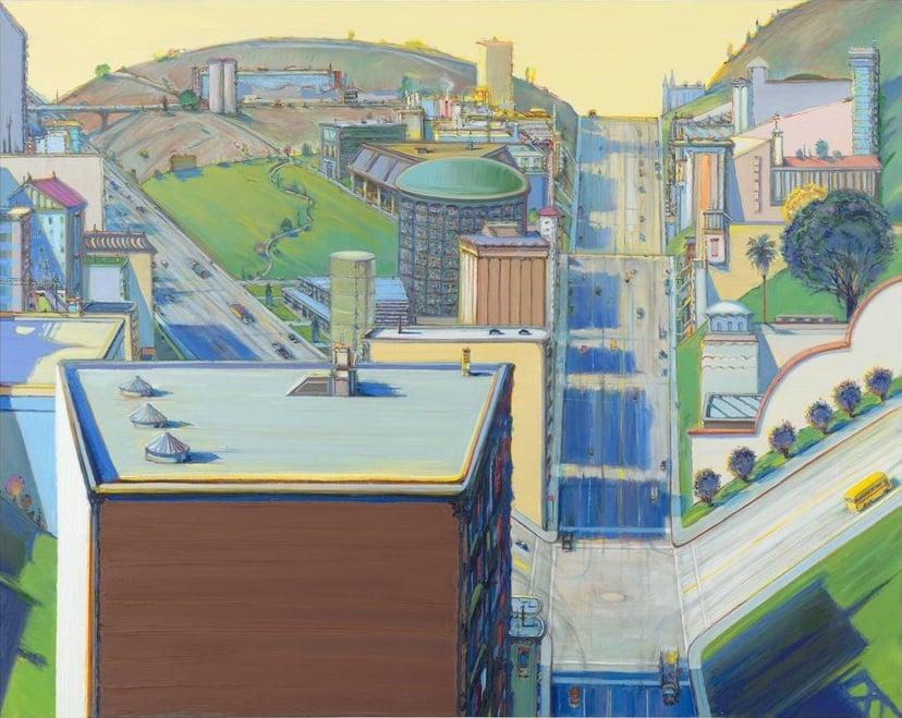 Wayne Thiebaud, Valley Streets, 121.92 x 152.4 cm, oil on canvas, 2003, San Francisco Museum of Modern Art. Source: https://www.sfmoma.org/artwork/FC.732