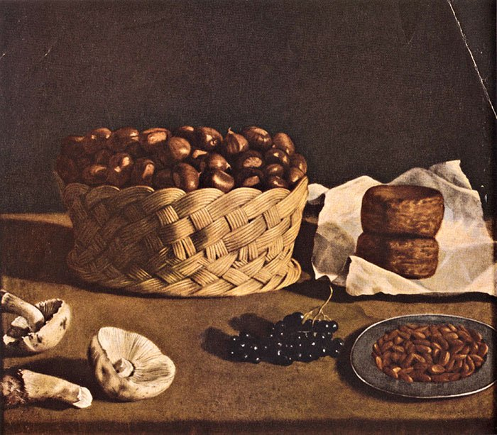 Paolo Barbieri, Basket of chestnuts, cheese, mushroom and fruit, c.1640, The Art Institute of Chicago, Chicago, IL, autumnal still lifes