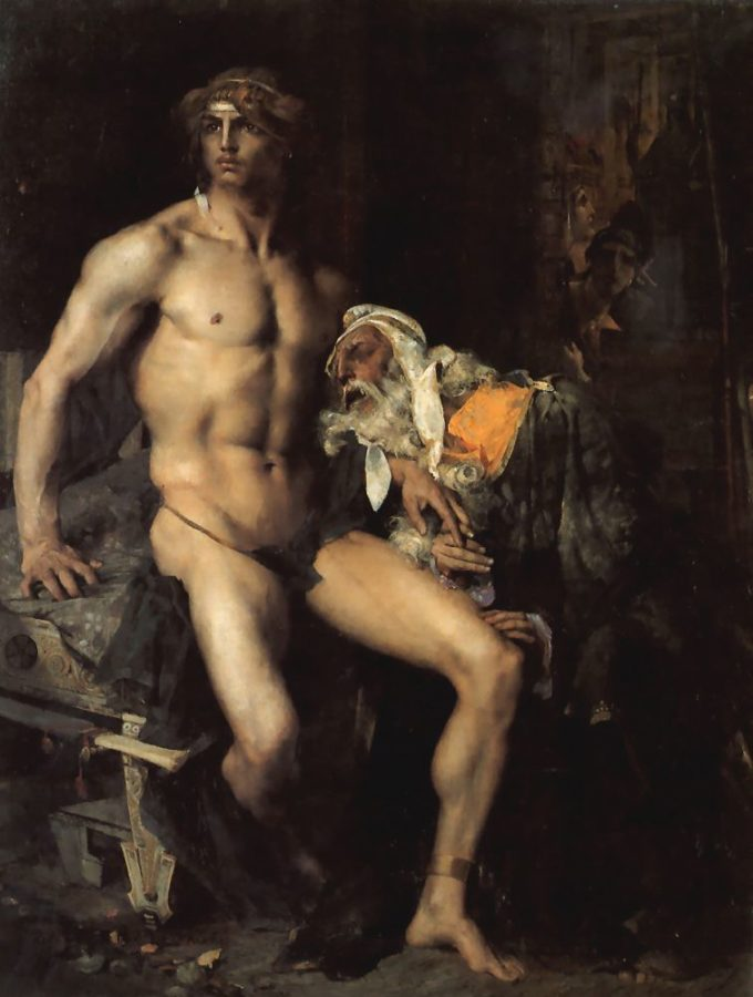 Jules Bastien-Lepage, Achilles and Priam, 1876, private collection, movember male nudes