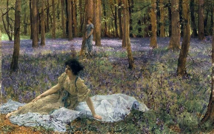 Sir Lawrance Alma-Tadema, Bluebells, 1899, Private collection, guide to aestheticism
