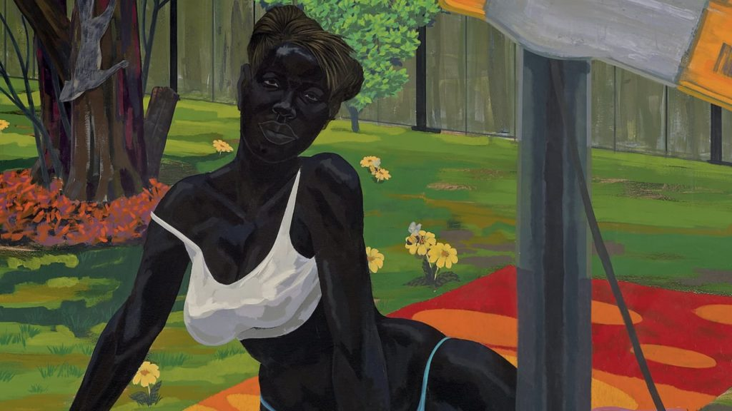Black Women in Western Art: Kerry James Marshall, Untitled (beach towel), 2014, Museum of Contemporary Art, Chicago, Illinois, USA.