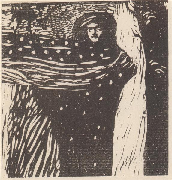 Koloman Moser, Loneliness, 1902, illutration for Ver Sacrum, solitude in painting