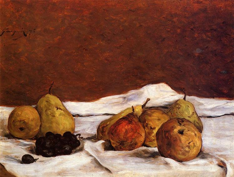 Paul Gauguin, Pears and grapes, 1875, private collection, autumnal still lifes