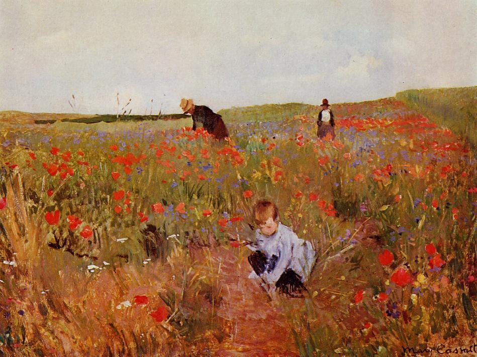 Mary Cassatt, Red poppies, 1874 - 1880, Philadelphia Museum of Art, Philadelphia, PA, remembrance day poppies in painting