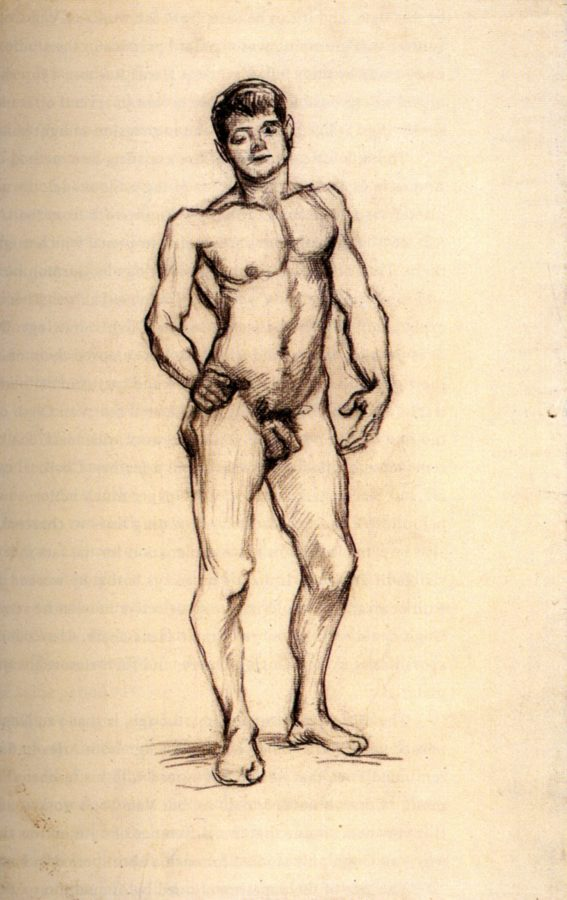 Vincent van Gogh, Standing Male Nude Seen from the Front, c.1886, Van Gogh Museum, Amsterdam, Netherlands, movember male nudes