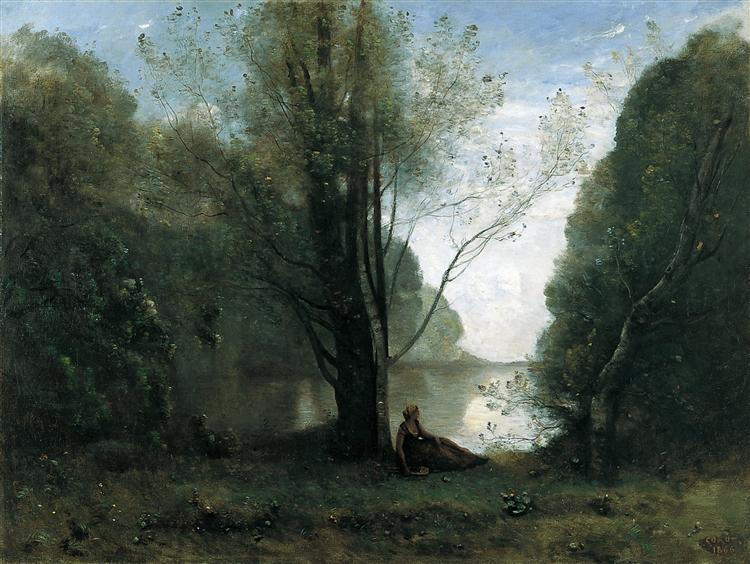Camille Corot, The Solitude. Recollection of Vigen, Limousin, 1866, Thyssen-Bornemisza Museum, Madrid, Spain, solitude in painting