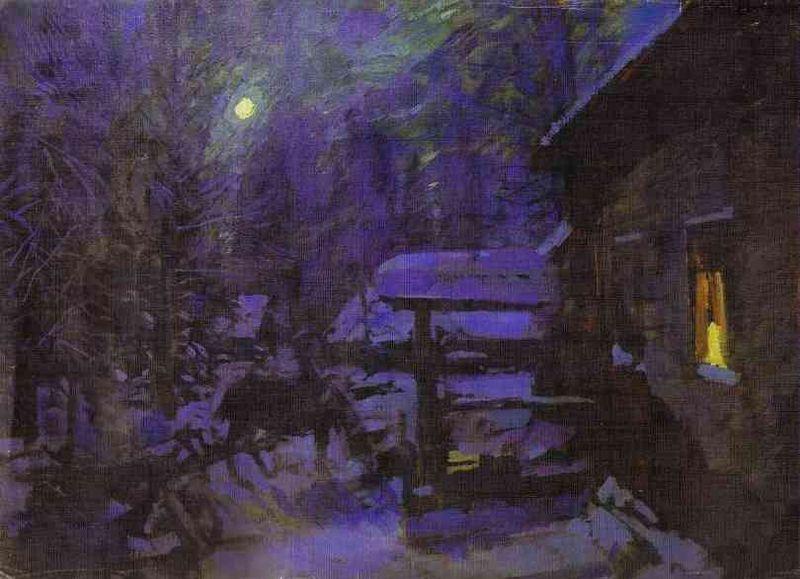 Konstantin Korovin, Moonlit Night. Winter, 1913, Tretyakov Gallery, winter in konstantin korovin