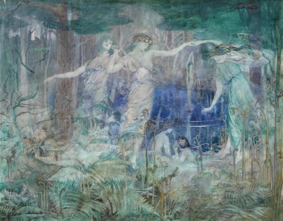 Olive Leared, Pan! Pan! O Pan! Bring Back thy Reign Again Upon the Earth, 1914, private collection, an artist turned suffragette