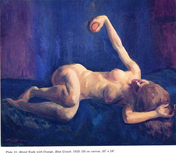 John French Sloan, Blond Nude with Orange, Blue Couch, 1925, private collection, portraits with oranges