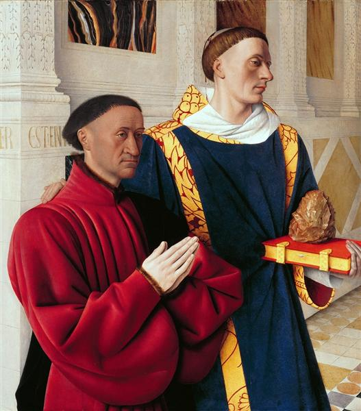 Jean Fouquet, Etienne Chevalier with St Stephen, c.1454, Staatliche Museen, Berlin, boxing day with st stephen