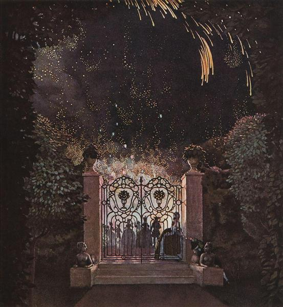 Konstantin Somov, Fireworks in the Park, 1907, location unknown, New Year's Fireworks