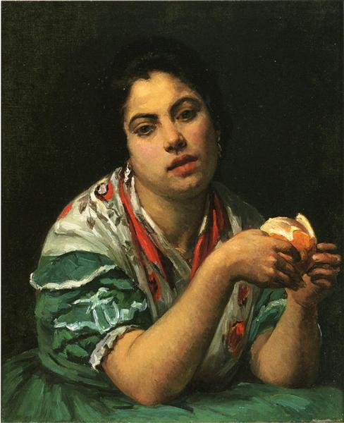 Mary Cassatt, Peasant Woman Peeling an Orange, c.1875, private collection, portraits with oranges