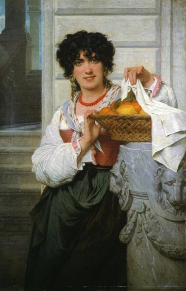 Pierre-Auguste Cot, Pisan Girl with Basket of Oranges and Lemons,1871, private collection, portraits with oranges