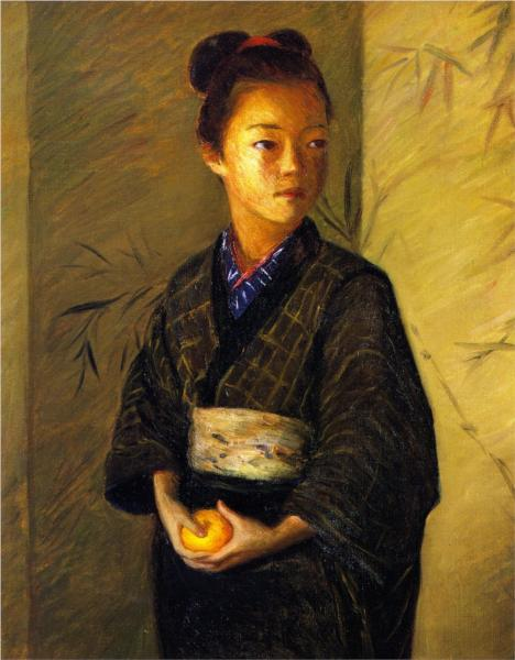 Lilla Cabot Perry, Portrait of a Young Girl with an Orange, 1901, private collection, portraits with oranges