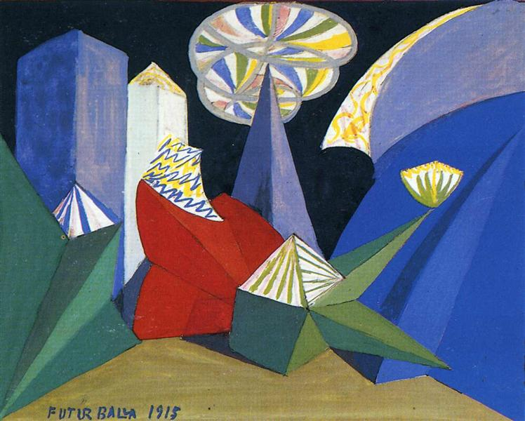 Giacomo Balla, Sketch for the ballet by Igor Stravinsky: Fireworks (Feu d'artifice), 1915, Teatro alla Scala Museum, Milan, New Year's Fireworks