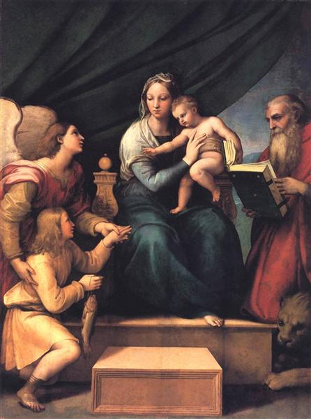 Raphael, The Madonna of the Fish (The Madonna with the Archangel Gabriel and St. Jerome), c.1513, Museo del Prado, Madrid, Spain, fish paintings