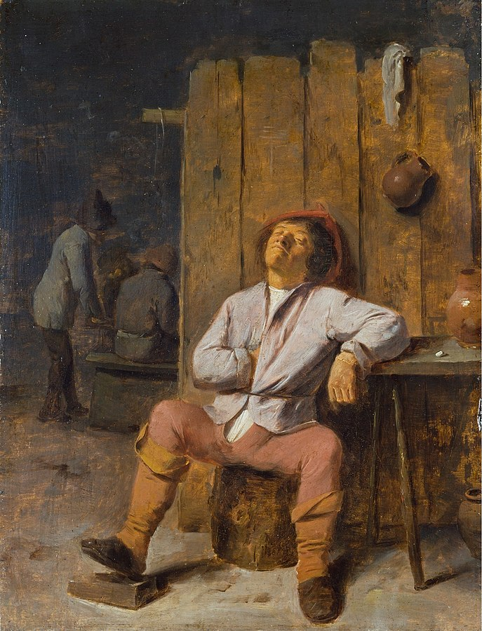 Adriaen Brouwer, A Boor Asleep, first half of 17th century,