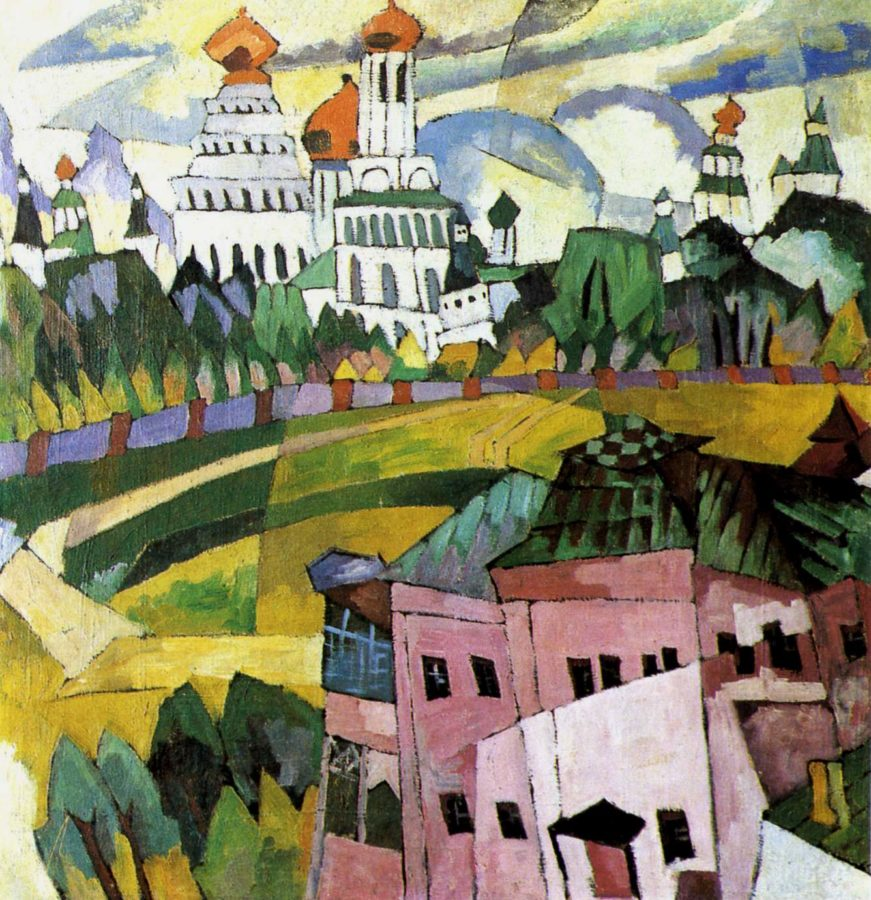 Aristarkh Lentulov, Landscape with Churches, 1917, Art Museum of Dnepropetrovsk, Ukraine, Aristarkh Lentulov's cubist russia