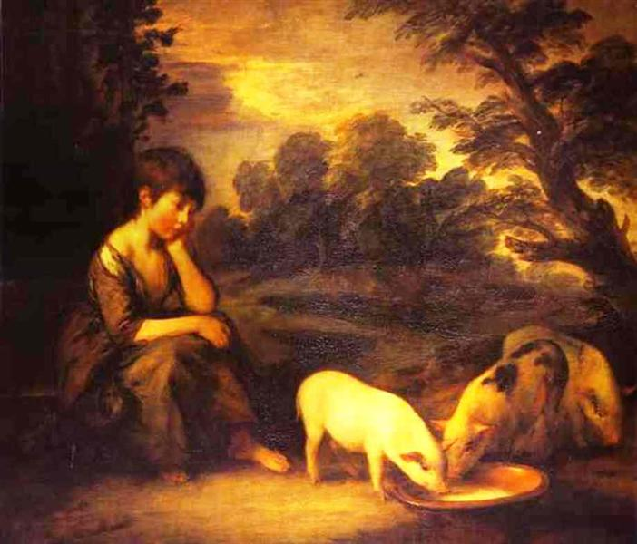 Thomas Gainsborough, Girl with Pigs, 1782, private collection, pigs in painting
