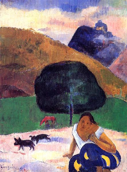Paul Gauguin, Landscape with black pigs and a crouching Tahitian, 1891, private collection, pigs in painting