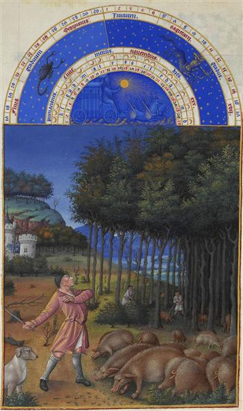 Limbourg brothers, November: Feeding Acorns to the Pigs, series: Très Riches Heures du Duc de Berry, 1413, Musée Condé, Chantilly, France, pigs in painting