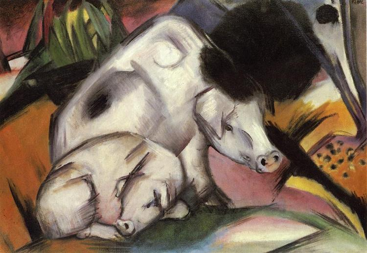 Franz Marc, Pigs, c.1912, private collection, pigs in painting